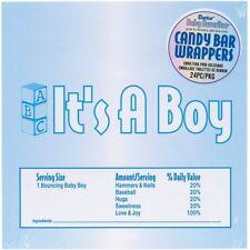 It's A Boy Blue Candy Bar Wrappers Baby Shower Favors 24pcs BP