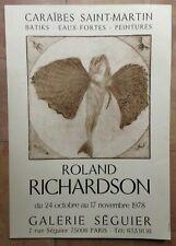 CARAIBES ST MARTIN ROLAND RICHARDSON 1978 AFFICHE ORIGINALE GAL SEGUIER PARIS