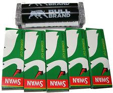 BULL BRAND BLACK CIGARETTE TOBACCO ROLLING MACHINE REGULAR SIZE + 5 SWAN PAPERS