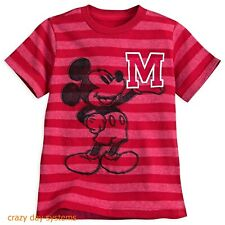 Disney Mickey Mouse Striped Letterman T-Shirt for Boys M(7-8) Red NWT