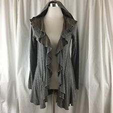 The Pyramid Collection Jacket Size Small Gray Brown Knit Reversible Hooded Open