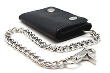 Men's Genuine Leather Long Metal Chain Mens Wallet Biker Trucker Motorcycle