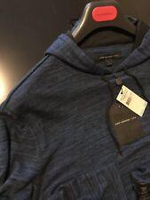 John Varvatos Luxury Mens Hoodie - Viscose Blend - Raw Cut Edges - Ink - $148