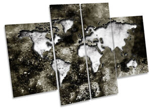 Map of the World Distressed Picture CANVAS WALL ART Four Panel Grey