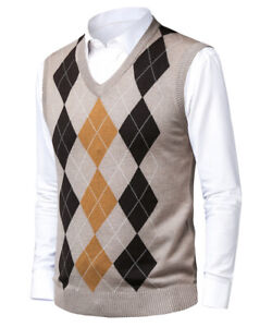 Mens V-Neck Sweater Vest Wool Blend Slim Fit Knit Golf Sleeveless Pullover