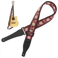 Guitar Strap Jacquard Weave Hootenanny Style & Genuine Leather Ends- Woven Braid