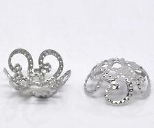 500 POP Silver Tone Flower Bead Caps Findings 10x4mm