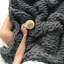 Soft Handmade Chunky Knit Luxury Blanket Thick Line Cozy Chenille Bulky Blankets