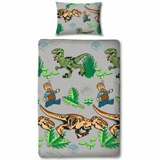 Lego Jurassic World Foliage Single Duvet Cover Set Reversible Kids Bedding