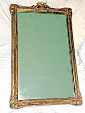 """Large Hand Carved Hard Wood Relief Framed Wall Mirror Antique Ornate 23"""" Wooden"""