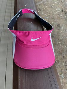 Nike Featherlight Hot Pink White Logo Dri-Fit Visor Cap Hat  Free Shipping