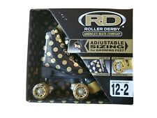 Roller Derby New Black Gold Polka Dot Skates Youth Adjustable Size 12-2