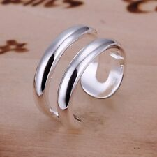 PC Adjustable Fashion Silver Plated Two Double Wire Lines Open Band Rings