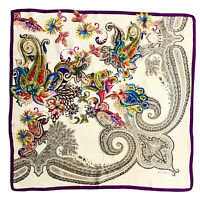 ETRO PAISLEY MULTICOLOR LARGE Silk Scarf 35 INCHES