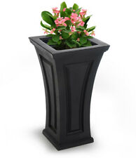 Square Black Plastic Outdoor Indoor Tall Patio Planter Flower Pot Mayne 4834-B