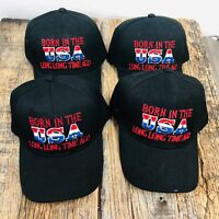 WHOLESALE 4X BLACK Born In The USA Long Time Hats Baseball CAP Adjustable NEW