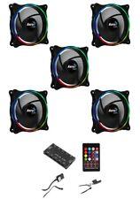 5 x Aerocool Eclipse 120mm ARGB PC Case Fans and ARGB 10 port Fan Controller Hub