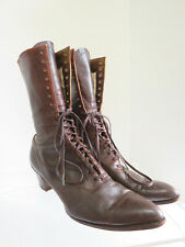 Antique Edwardian Brown Leather Women's Lace Up Heeled Boots Sz 39 Us 8 French?