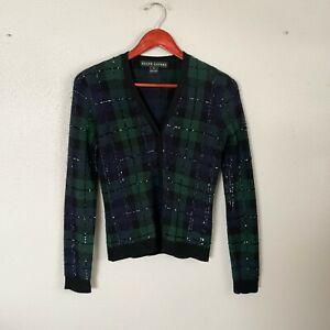 Ralph Lauren Black Label Size S Small Plaid Sequin Button Up Cashmere Cardigan