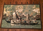 """Vintage People Traveling by Boat Tapestry Quilted Wall Hanging 47"""" x30½"""" Germany"""