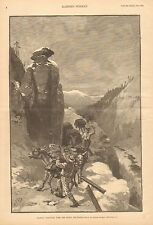 Colorado, Packing Cord Wood Over The Rocky Mountains, Mules, Vintage 1888 Print
