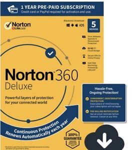 Norton 360 Deluxe for 5 Devices with Auto Renewal Brand New Digital Download