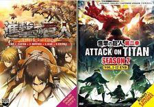 DVD English Version Attack On Titan Season 1 + 2 (1-37 End) + 6 Special