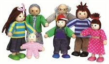 Lelin Wooden Wood Big Family Doll House Figures Childrens Kids Pretend Play Toy