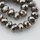 72pcs 8x6mm Rondelle Faceted Crystal Glass Loose Beads Metal Black