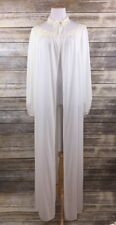 Vintage Semi Sheer Chiffon Robe Long Duster Carter's Sz 34 Large Ivory Floral
