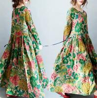 Womens Floral Cotton Linen Long Swing Maxi Floral Caftan Loose Oversize Dress