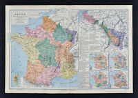 1885 Drioux Map France Agriculture Rhine River Basin Industry Church University