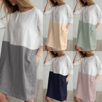 Women Casual Patchwork 1/2 Sleeved Cotton Linen Loose Pockets Tunic Shirt Dress