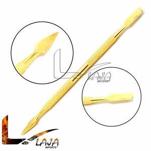 Cuticle Pro Pusher Full Gold Long Flat Skin Knife Manicure Nail art Finger