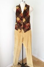 Vtg 70s Brown Cord Velour 2-Pc Plaid Reverse Vest Flare Pants Disco Pimp Suit S