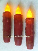 """RED TIMER TAPER CANDLES Grungy 4 5/8"""" Set of 3  Primitive Farmhouse Christmas"""