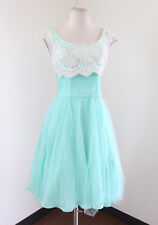 Geode Modcloth Aqua Blue Lace Tulle Cocktail Party Prom Dress Size XS Flare