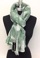 NEW Women Summer Cotton Voile Scarf Wrap Tree Printed Silk Chiffon Shawl ,Green