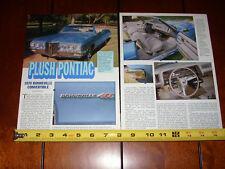 1970 PONTIAC BONNEVILLE 455 CONVERTIBLE - ORIGINAL 1998 ARTICLE