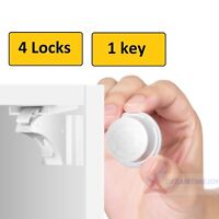 4 Invisible Safety Baby Magnetic Cupboard Drawers Lock Door Child Baby Pet Proof