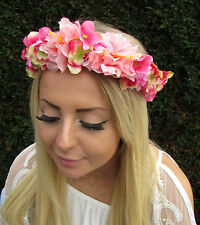 Hot Pink Light Pink Hydrangea Rose Flower Headband Hair Crown Garland Boho 1686
