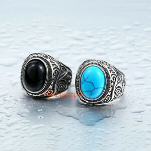 Vintage Stainless Steel Oval Blue Turquoise Black Stone Men's Women's Ring