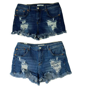 Almost Famous Womens Fringe Distressed Pockets Blue Jean Shorts Size 11 Lot of 2