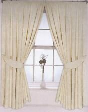 Pair of Cream Pencil Pleat Jacquard Curtains Floral Design Fully Lined Tiebacks