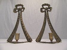 Set of 2 Vintage Brass Wall or Table Sconce Candle Holders