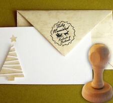 Sello Caucho Papa Noel Trineo Personalizado 40 mm, Christmas, Sobres,Tarjetas