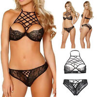 Erotic Plus Size Underwear Lace Bra+G-string Women Lingerie Set Halter Panties