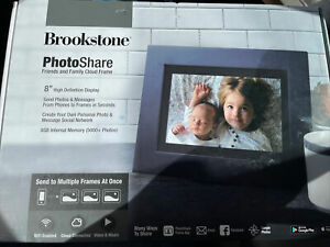 """Brookstone PhotoShare Friends and Family Cloud Frame 8"""" Display FSM08BLB - H168"""