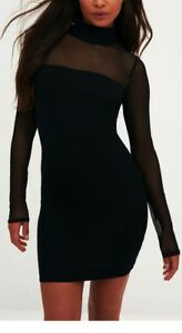 BLACK HIGH NECK MESH PANEL BODYCON DRESS SZ 6 8 10 12 14 16 PETITE REGULAR TALL
