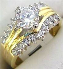 18K GOLD EP 3.06CT DIAMOND SIMULATED ENGAGEMENT RING size 11 or V 1/2